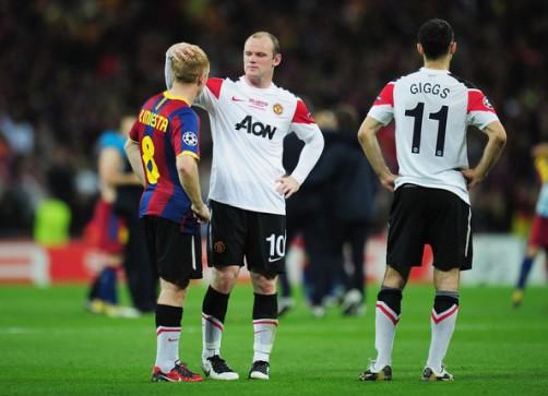 From left; Paul Scholes, Wayne Rooney, Ryan Giggs